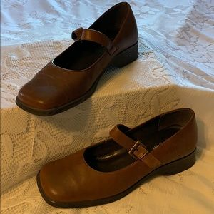 Square-toed Leather Mary Janes by Easy Spirit